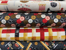 fabric shack sewing quilting sew fat quarter cotton patchwork quilt laura claire henry glass sewing mends the soul room sewing machine singer treddle buttons tape measure cotton reel thimble scissors white grey 5