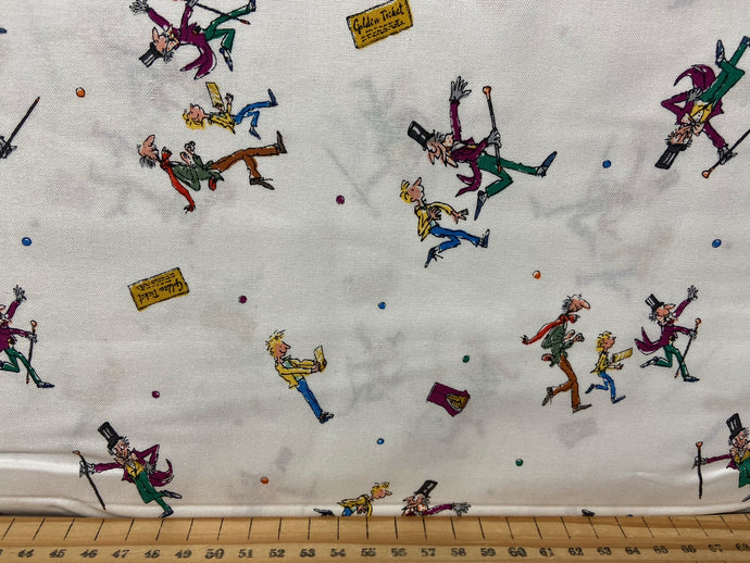 fabric shack sewing quilting sew fat quarter cotton patchwork quilt roald dahl quentin blake charlie and the chocolate factory sweeks wonka bars grandpa joe golden ticket wonka bar scene white