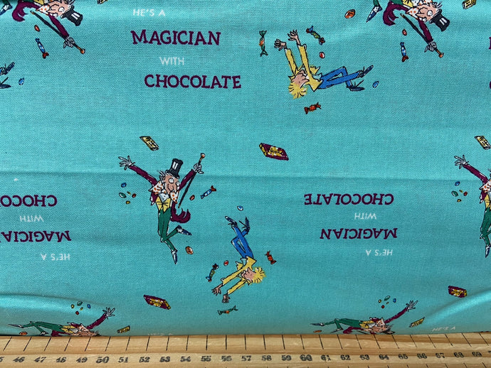 fabric shack sewing quilting sew fat quarter cotton patchwork quilt roald dahl quentin blake charlie and the chocolate factory sweeks wonka bars grandpa joe golden ticket golden ticket wonka charlie turquoise maggician