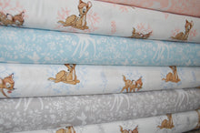 Fabric Shack Disney Bambi Thumper Sewing Quilting Sew Fat Quarter Cotton Deer Silhouette Butterfly Blue Pink Grey
