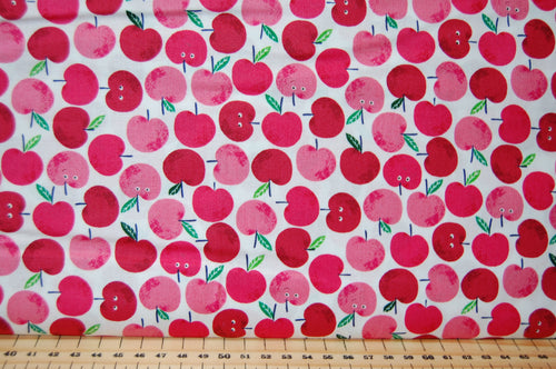 Fabric Shack Fruity Friends Makower Fun Fruit Tropical Smiles Cocktail Summer Party Garden Bunting Panel Apple Apples Red White