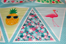 Fabric Shack Fruity Friends Makower Fun Fruit Tropical Smiles Cocktail Summer Party Garden Bunting Panel Pineapple  Apple Cherries Flowers Flamingo Pink White Green Orange 2