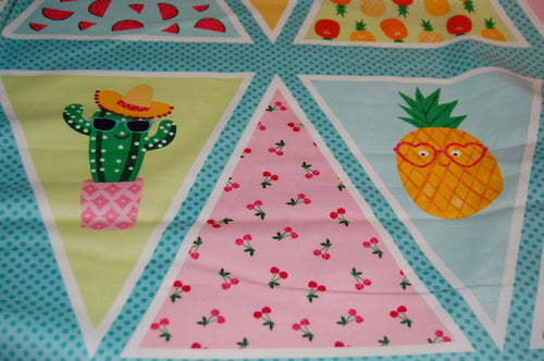 Fabric Shack Fruity Friends Makower Fun Fruit Tropical Smiles Cocktail Summer Party Garden Bunting Panel Pineapple  Apple Cherries Flowers Flamingo Pink White Green Orange 5