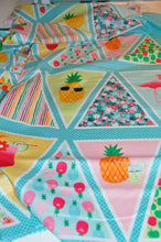 Fabric Shack Fruity Friends Makower Fun Fruit Tropical Smiles Cocktail Summer Party Garden Bunting Panel Pineapple  Apple Cherries Flowers Flamingo Pink White Green Orange