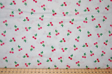 Fabric Shack Fruity Friends Makower Fun Fruit Tropical Smiles Cocktail Summer Party Garden Bunting Panel Pineapple  Apple Cherries Flowers Flamingo White Red Cherry