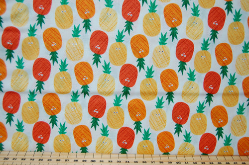 Fabric Shack Fruity Friends Makower Fun Fruit Tropical Smiles Cocktail Summer Party Garden Bunting Panel Pineapple  Pineapples White  Orange