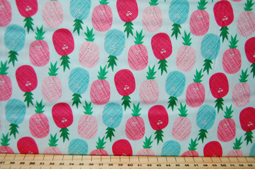 Fabric Shack Fruity Friends Makower Fun Fruit Tropical Smiles Cocktail Summer Party Garden Bunting Panel Pineapple  Pineapples White  Pink Blue