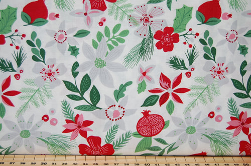Fabric Shack Kate Spain for Moda Merry Merry Christmas Festive Holiday Bird Robin Bauble Flower Amaryllis Rose House Home Green Red White Cotton Fat Quarter Pack 3