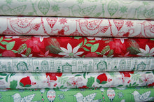 Fabric Shack Kate Spain for Moda Merry Merry Christmas Festive Holiday Bird Robin Bauble Flower Amaryllis Rose House Home Green Red White Cotton Fat Quarter Pack