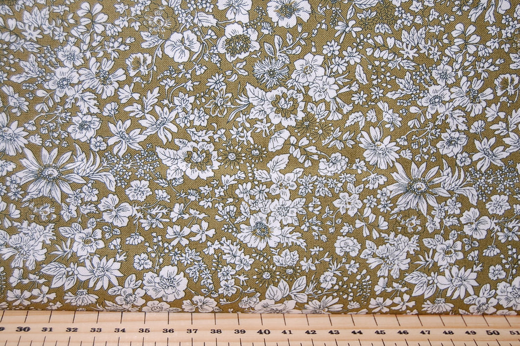 Fabric Shack Liberty English Garden Quilting Cotton Emily Silhouette Green Sewing Sew Fat Quarter