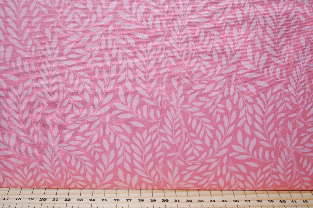 Fabric Shack Liberty English Garden Quilting Cotton Leaf Trail Pink Sewing Sew Fat Quarter