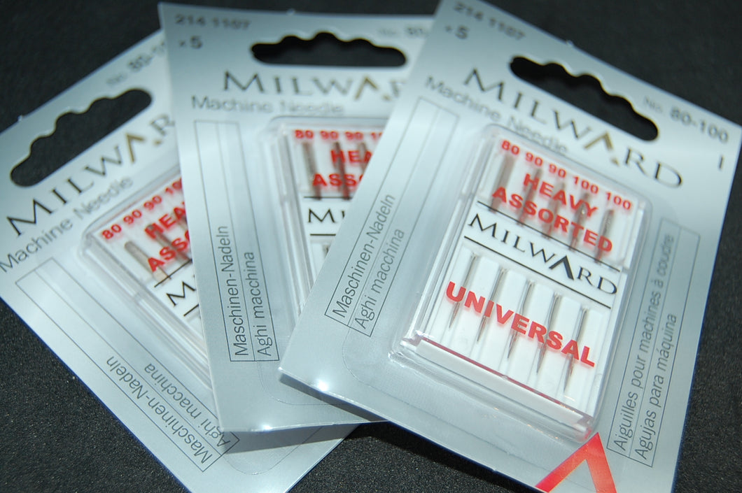 Fabric Shack Milward Universal Sewing Machine Needles 80-100 Heavy Pack Five Cotton Denim