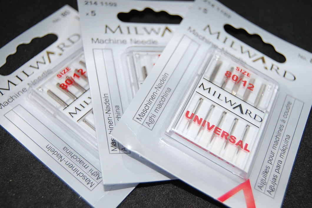Fabric Shack Milward Universal Sewing Machine Needles 80 12 Pack Five Quilting Cotton Shirting