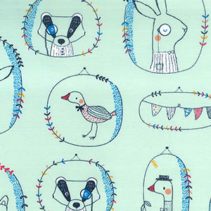Fabric Shack Poppy Europe Jersey Two Way Stretch Cotton Spandex Elastane Playful Animals Goose Country Nobleman Monacle Fox Badger Rabbit Hare Dignatories Sewing Clothes Kids Sew