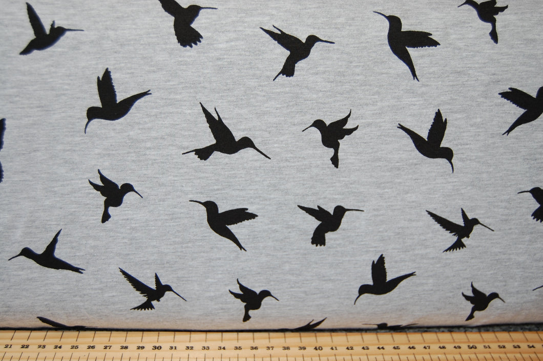 Fabric Shack Sewing Dressmaking T-Shirt Sew Cotton Jersey Hummingbird Bird Swooping Silhouette Black Grey