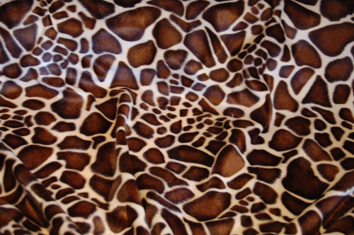 Fabric Shack Sewing Quilitng Sew Fat Quarter Cotton Polyester Quilt Patchwork Dressmaking Faux Fake Fur Velboa Valboa Giraffe  Brown White Short Pile