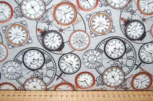 Fabric Shack Sewing Quilitng Sew Fat Quarter Cotton Quilt Patchwork Dressmaking Marc Desobeau Blank Locomotion Steam Punk Steampunk Train Tickets Station Clock Watch Watches Tickets Journey Trip Clockwor (2)