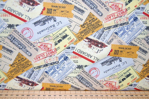 Fabric Shack Sewing Quilitng Sew Fat Quarter Cotton Quilt Patchwork Dressmaking Marc Desobeau Blank Locomotion Steam Punk Steampunk Train Tickets Station Clock Watch Watches Tickets Journey Trip Clockwor (3)