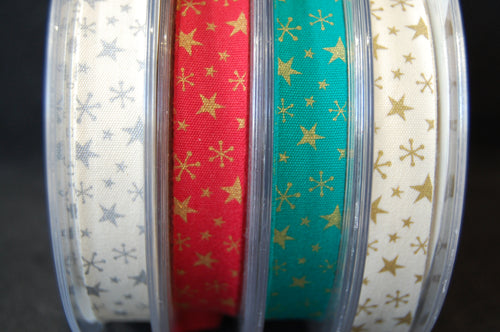 Bowtique Metallic Christmas Star Trim/Ribbon 15mm