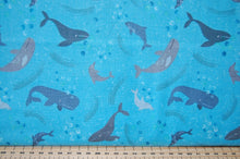 Fabric Shack Sewing Quilting Dressmaking Sew Fat Quarter Cotton Fabric Lewis & and Irene Spindrift Spin Drift Puffins Whales Waves Dolphins Ocean Sea Seaside Rocks Blue (2)