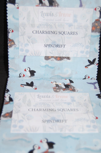 Fabric Shack Sewing Quilting Dressmaking Sew Fat Quarter Cotton Fabric Lewis & and Irene Spindrift Spin Drift Puffins Whales Waves Dolphins Ocean Sea Seaside Rocks Charm Pack Charming Squares Pre Cut
