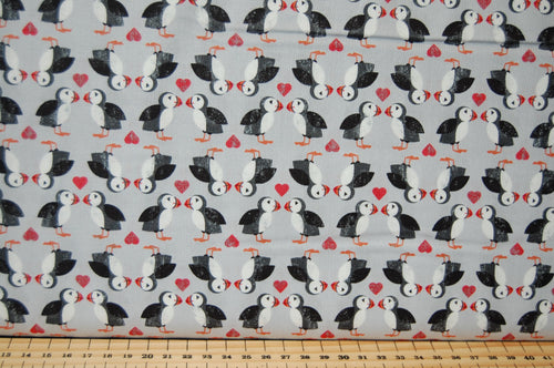 Fabric Shack Sewing Quilting Dressmaking Sew Fat Quarter Cotton Fabric Lewis & and Irene Spindrift Spin Drift Puffins Whales Waves Dolphins Ocean Sea Seaside Rocks Puffin Love Pairs Grey