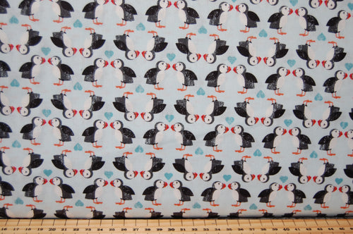 Fabric Shack Sewing Quilting Dressmaking Sew Fat Quarter Cotton Fabric Lewis & and Irene Spindrift Spin Drift Puffins Whales Waves Dolphins Ocean Sea Seaside Rocks Puffin Love Pairs Light Blue