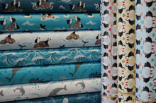 Fabric Shack Sewing Quilting Dressmaking Sew Fat Quarter Cotton Fabric Lewis & and Irene Spindrift Spin Drift Puffins Whales Waves Dolphins Ocean Sea Seaside Rocks Light Blue