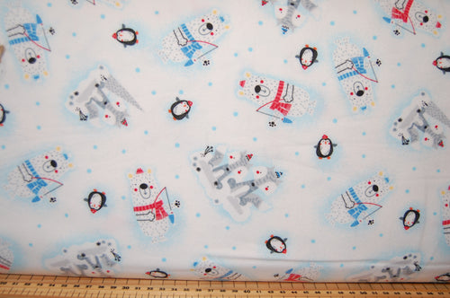 Fabric Shack Sewing Quilting Haberdashery Sew Fat Quarter Cotton Quilt Studio E Swizzle Stick Polar Pals Flannel Brushed Christmas Winter Polar Bear Penguin Fish Arctic Fox