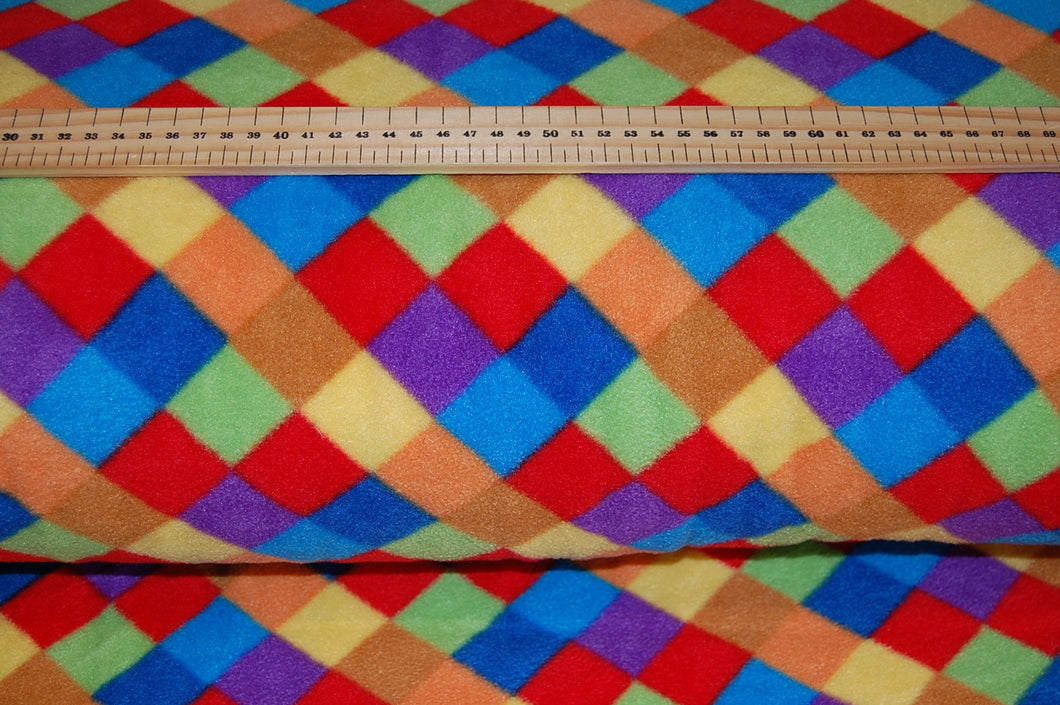 Fabric Shack Sewing Quilting Sew Clothes Polyester Polar Fleece Harlequin Diamond Bright Multi Coloured Elmer