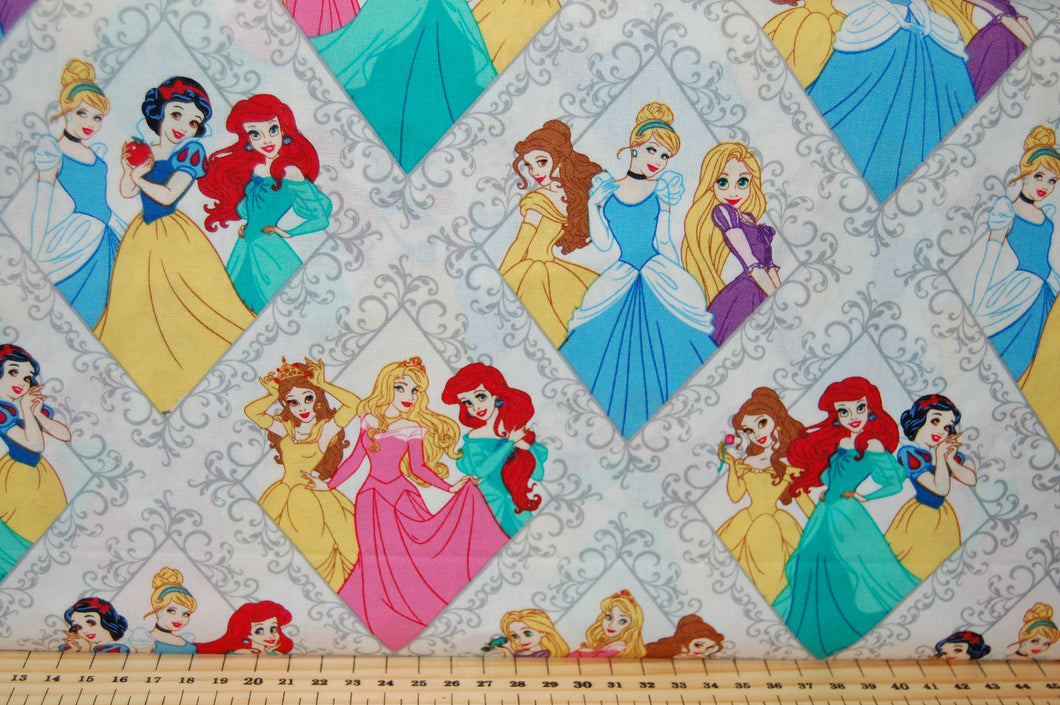 Fabric Shack Sewing Quilting Sew Fat Quarater Cotton Quilt Disney Licenced Licensed Camelot Princess Princesses Little Mermaid Ariel Alice in Wonderland Snow White Cinderella Sleeping Beauty Aurora Belle