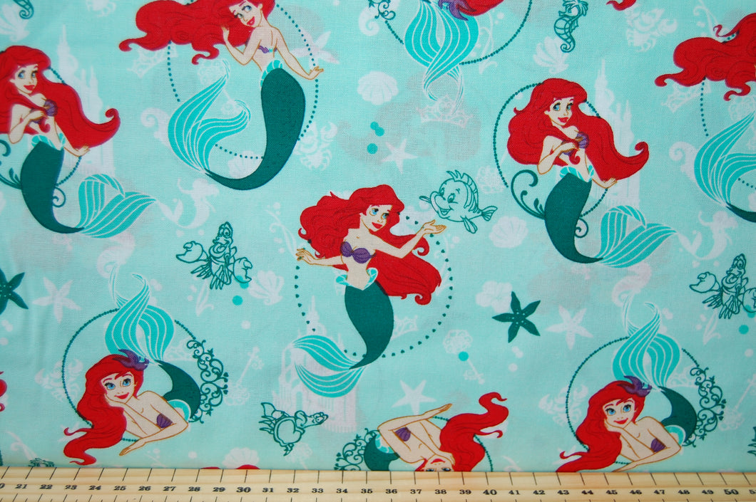 Fabric Shack Sewing Quilting Sew Fat Quarter Cotton Quilt Disney Licenced Licensed Camelot Princess Princesses Little Mermaid Ariel Flounder Starfish