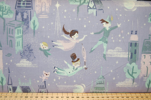 Fabric Shack Sewing Quilting Sew Fat Quarter Cotton Jill Howarth Riley Blake Neverland Peter Pan Captain Hook Wendy Darling Tinkerbell John Michael Captain Hook Fly Moon Stars Portrait  Big Ben Blue Purple Lilac