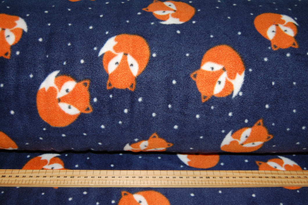 Fabric Shack Sewing Quilting Sew Fat Quarter Cotton Metre Quilt Fleece Fox Foxes Cub Patchwork Quilting Polar Antipil Navy Blue