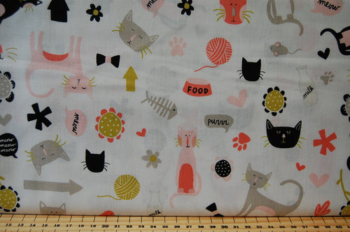 Fabric Shack Sewing Quilting Sew Fat Quarter Cotton My Minds Eye Riley Blake Meow Cats Cat Pussy Pussies Kitten Kitty Paw Good Bowl Heart Flower Fish Bones Faces Milk Black White Pink Grey Natural