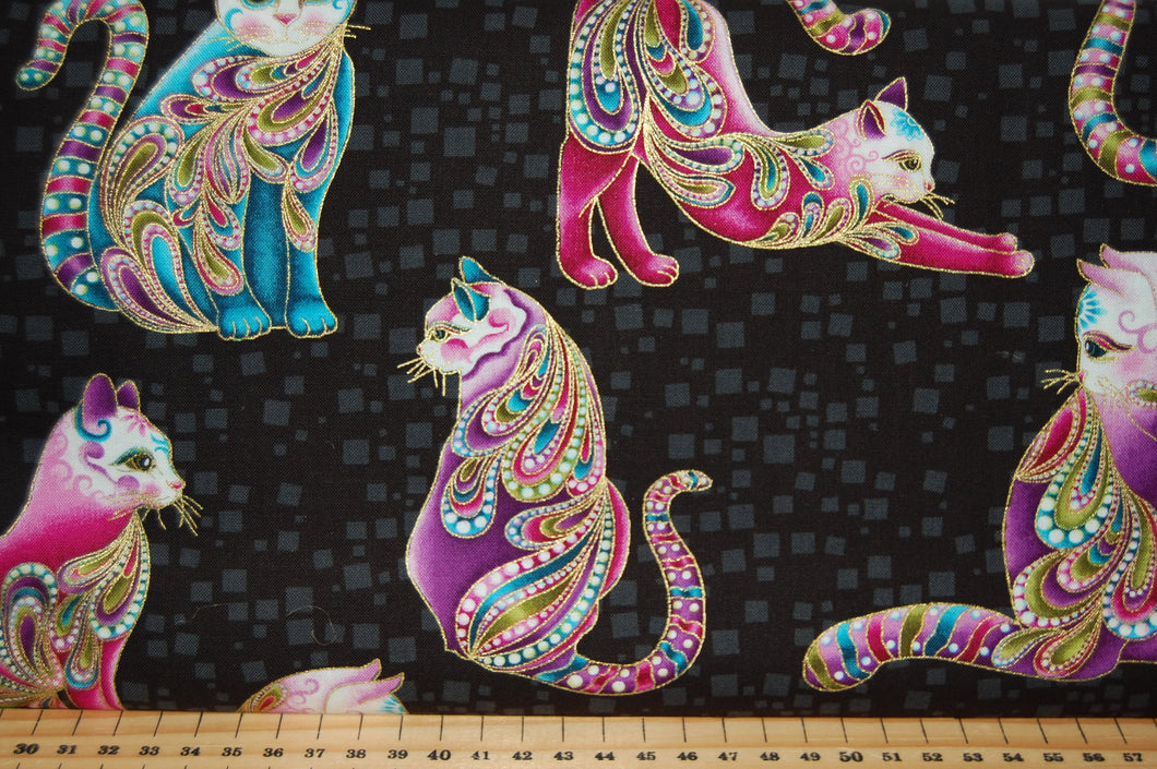Fabric Shack Sewing Quilting Sew Fat Quarter Cotton Patchwork Dressmaking Cat I Tude Catitude Ann Lauer Grizzly Gulch Galleries Metallic Black Beaded Cats Pussy Egyptian Siamese Beads Swirls Hearts Paisl (6)