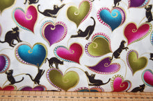 Fabric Shack Sewing Quilting Sew Fat Quarter Cotton Patchwork Dressmaking Cat I Tude Catitude Ann Lauer Grizzly Gulch Galleries Metallic Black Beaded Cats Pussy Egyptian Siamese Beads Swirls Hearts White