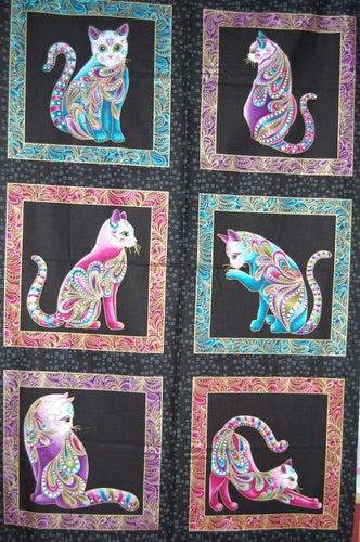 Fabric Shack Sewing Quilting Sew Fat Quarter Cotton Patchwork Dressmaking Cat I Tude Catitude Ann Lauer Grizzly Gulch Galleries Metallic Black White Beaded Cats Egyptian Siamese Beads Swirls Hearts Paisl (2)