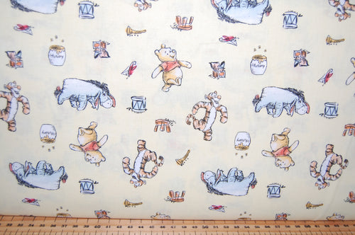 Fabric Shack Sewing Quilting Sew Fat Quarter Cotton Patchwork Dressmaking Childrens Kids Disney AA Milne Winnie the Pooh Licensed Licenced Tigger Eeyore Piglet Honey Balloon March Friends Le