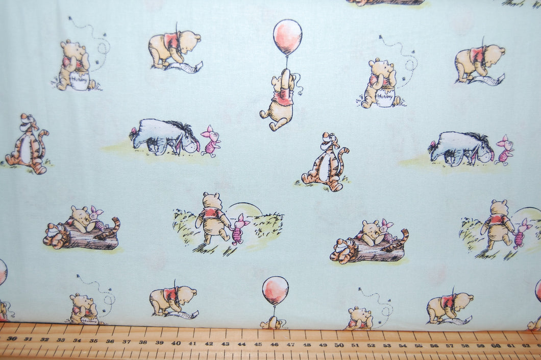 Fabric Shack Sewing Quilting Sew Fat Quarter Cotton Patchwork Dressmaking Childrens Kids Disney AA Milne Winnie the Pooh Licensed Licenced Tigger Eeyore Piglet Honey Balloon March Friends Mint Blue