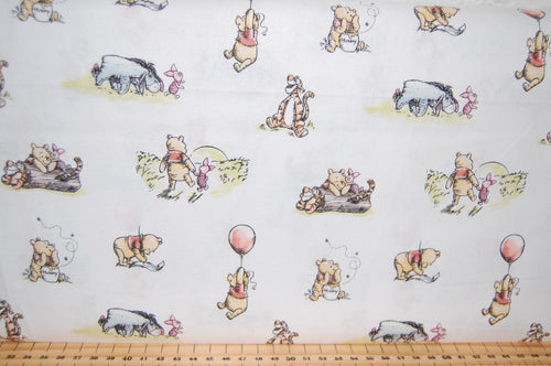 Fabric Shack Sewing Quilting Sew Fat Quarter Cotton Patchwork Dressmaking Childrens Kids Disney AA Milne Winnie the Pooh Licensed Licenced Tigger Eeyore Piglet Honey Balloon March Badge Friends