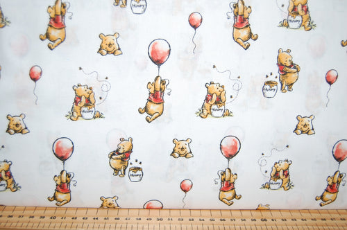 Fabric Shack Sewing Quilting Sew Fat Quarter Cotton Patchwork Dressmaking Childrens Kids Disney AA Milne Winnie the Pooh Licensed Licenced Tigger Eeyore Piglet Honey Balloon March Friends White