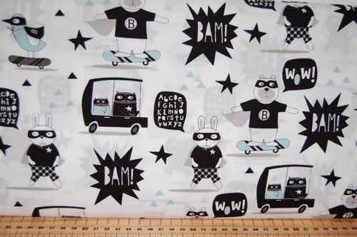 Fabric Shack Sewing Quilting Sew Fat Quarter Cotton Patchwork Dressmaking Ellen Crimi Trent Clothworks Little Super Hero Teddy Bear Rabbit Duck Comic Book Monochrome Kids Children Splat Pow Bam Pi (3)