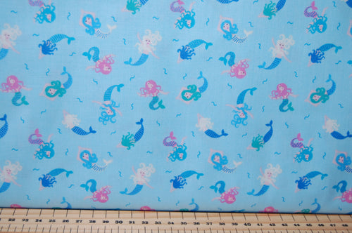 Fabric Shack Sewing Quilting Sew Fat Quarter Cotton Patchwork Dressmaking Lewis Irene Mythical & and Magical Myth Magic Fantasy Wizard Rainbow Fairy Fairies Mermaid Metallic Unicorn Blue