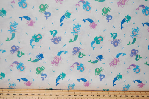 Fabric Shack Sewing Quilting Sew Fat Quarter Cotton Patchwork Dressmaking Lewis Irene Mythical & and Magical Myth Magic Fantasy Wizard Rainbow Fairy Fairies Mermaid Metallic Unicorn Cream