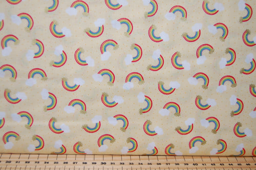 Fabric Shack Sewing Quilting Sew Fat Quarter Cotton Patchwork Dressmaking Lewis Irene Mythical & and Magical Myth Magic Fantasy Wizard Rainbow Fairy Fairies Mermaid Metallic Unicorn Yellow