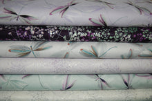 Fabric Shack Sewing Quilting Sew Fat Quarter Cotton Patchwork Dressmaking Maria Kalinowski Kanvas Studios Dragonflies Dragon fly Metallic Silver Tree Blossom Flower Plant Bug Purple Jade Lilac Blue (2)