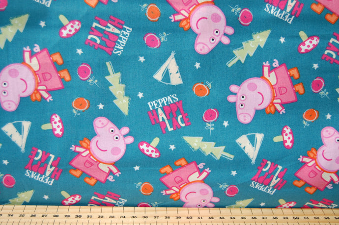 Fabric Shack Sewing Quilting Sew Fat Quarter Cotton Patchwork Dressmaking Peppa Pig Mummy Daddy George Candy Cat Forest Adventure Teepee Wigwam Tent Happy Place Gnome One Big Family Blue Flower Tree