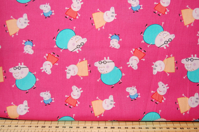 Fabric Shack Sewing Quilting Sew Fat Quarter Cotton Patchwork Dressmaking Peppa Pig Mummy Daddy George Candy Cat Forest Adventure Teepee Wigwam Tent Happy Place Gnome One Big Family Pink Flower Tree