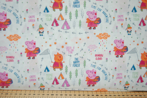 Fabric Shack Sewing Quilting Sew Fat Quarter Cotton Patchwork Dressmaking Peppa Pig Mummy Daddy George Candy Cat Forest Adventure Teepee Wigwam Tent Happy Place Gnome One Big Family  White Flower Tree